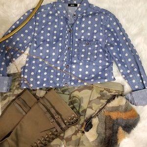 Denim polkadot button down shirt